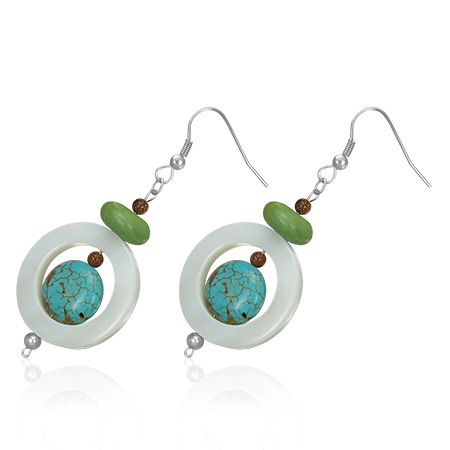 Spinner Circle Drop Hook Earrings