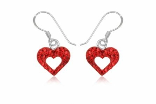 Korvakorut - Swarovski Red Heart