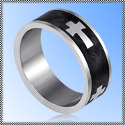 Kirurginteräs Sormus - Black Cross Ring