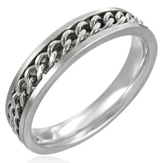 Kirurginteräs Sormus - Slim Spinning Chain Ring