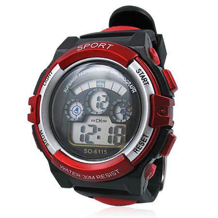 Black Red Rubber Band Sports Digital Watch