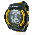 Black Yellow Rubber Band Sports Digital Watch